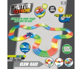 Glow Race Flexi Track With Light Up Car 3.35m 221 Piece
