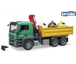 Bruder 1:16 MAN TGS With 3 Recycling Containers & Bottles