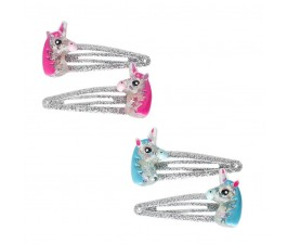 Pink Poppy Glitter Unicorn Hairclips